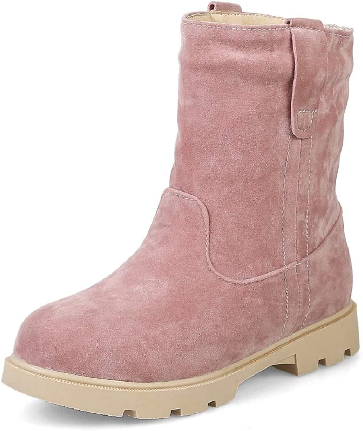Women Snow Boots Ankle Casual Ankle Boots Trainer Autumn Winter Warm Handmade Army Transer Combat Boots Size Flat Sneakers Warm (color   Pink Thick Velvet, Size   42)