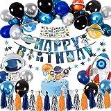 Tacobear Espacio Decoraciones Feliz Cumpleaños de Decoraciones para Chico Espacio Globos Cumpleaños Banner Feliz Cumpleaños Pancarta Cake Topper para Niños
