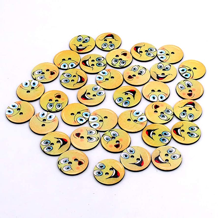 100pcs Mixed Wooden Slice Smile face Emoticon Craft Round Assorted Buttons for Sewing DIY 25mm (Happy Smile)