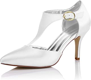 JIAJIA K16215 Women's Bridal Shoes Closed Toe Mid Heel T Bar Dyeable Satin Pumps Wedding Shoes