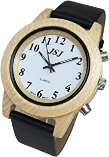 English Talking Wooden Watch with Alarm Leather Strap,Talking Date and Time