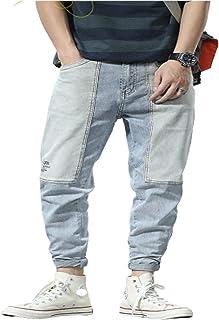 Tooling-jeans voor heren Europese en Amerikaanse streetwear Trendy modieuze kleurafstemmende stiksels Gewassen halfhoge jeans