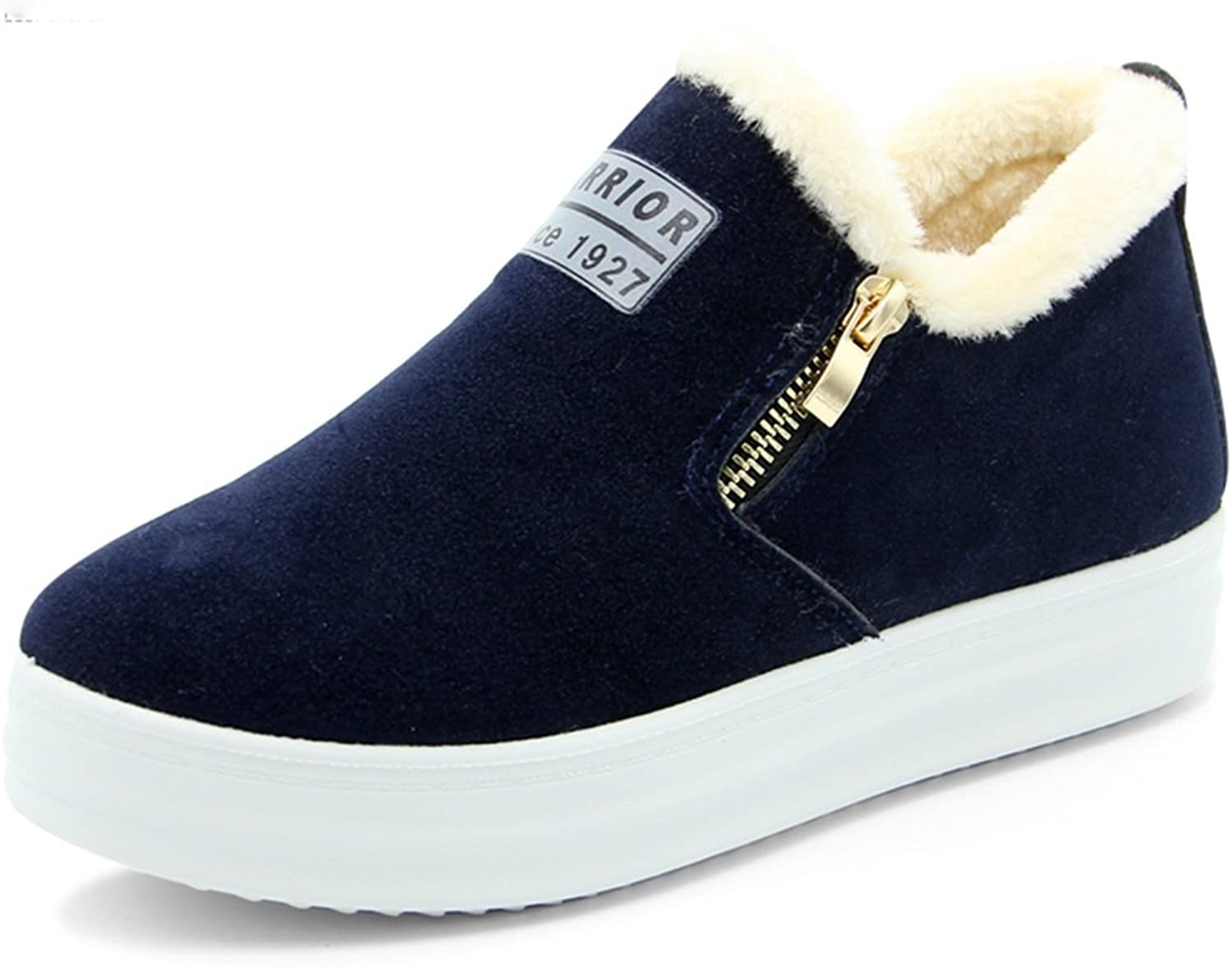 Fashion Sneaker, Winter Warm Lace Up Ankle Sneakers Fashion Flat Platform Sneakers High Top Winter shoes With Fur Lining For Women ( color   Navy bluee , Size   6.5 B(M)US )