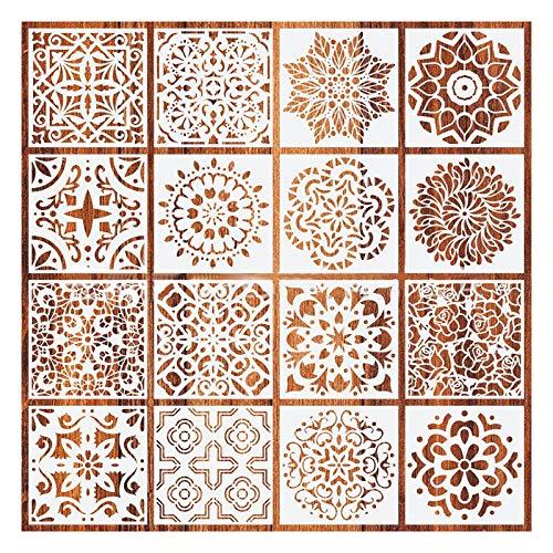 Fransande - 16 piezas de serrias mandala, diseño mandala, plantilla para pared, pintura, scrapbooking, proyectos de arte de pintura rugostre