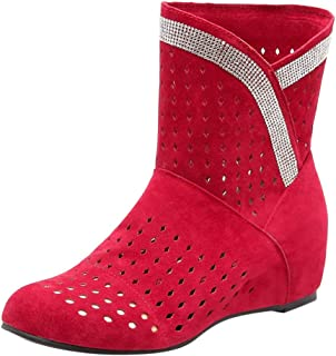 Women's Fashion Round Toe Ankle Boots High Wedge Bootie Increase Within Boot with Hollow