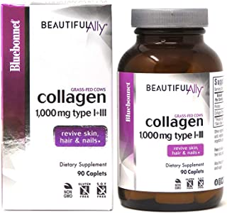 Bluebonnet Nutrition Beautiful Ally Collagen Caplets, Hydrolyzed Collagen from Grass Fed Cows, Collagen Peptides Type 1 & ...