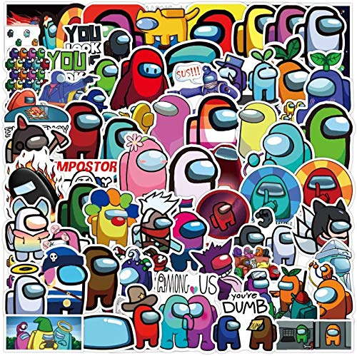 100PCS Among (Us) Stickers, Popular Game Sticker Decals, Vinyl Waterproof Stickers for Laptop, Water Bottle, Hydro Flasks, Phone, Bicycle, Guitar, Car, Luggage, Cartoon Stickers Bset