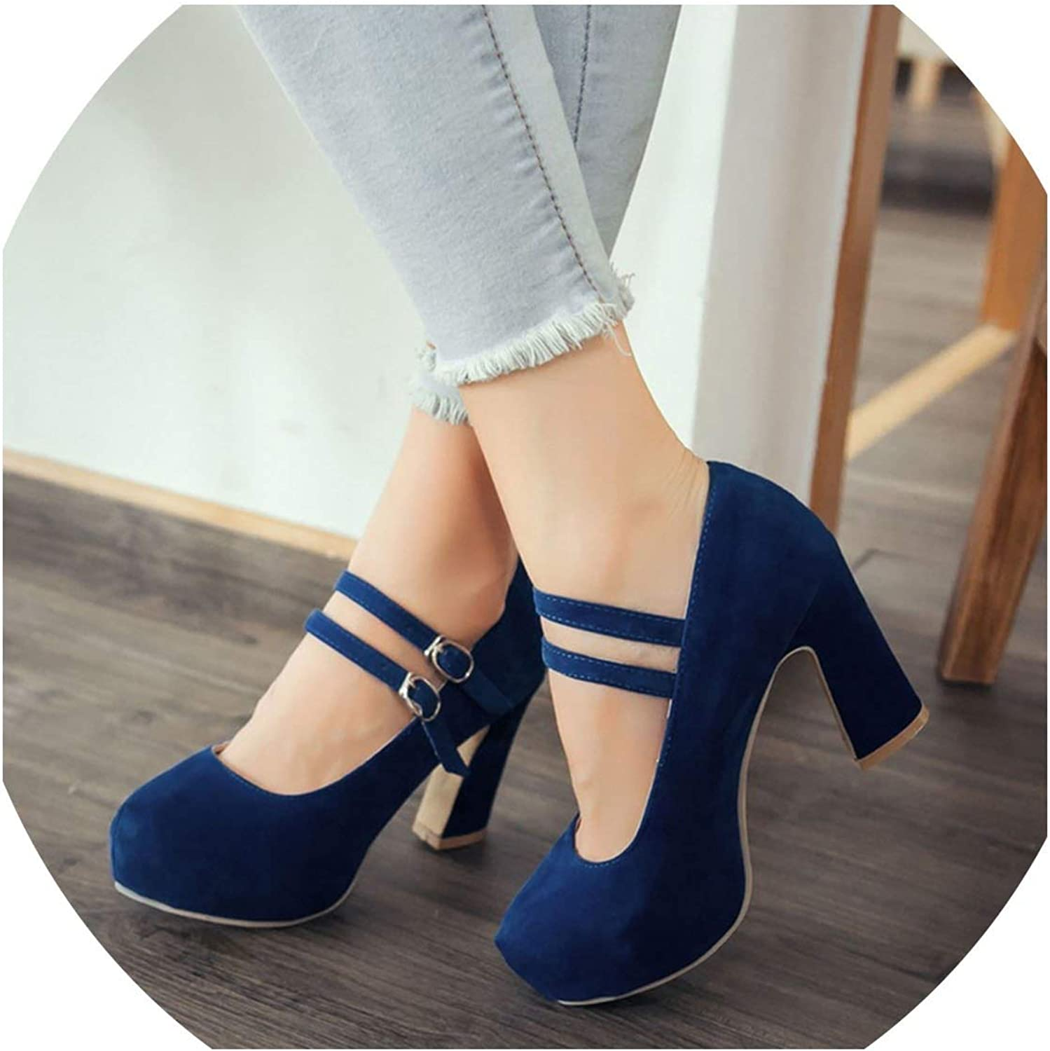 YP-fashion Large Size 34-43 Women shoes Woman high Heels Elegant Buckle Strap Office Lady Party Wedding Pumps