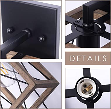 VILUXY Wood Wall sconces Retro Industrial Rectangle Bedside Wall Sconce Plug-in Cord with Switch Lighting Fixture Black Wall