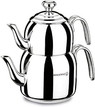 Preisvergleich für Korkmaz Caydanlik Takim Teekocher Teekanne Induktion Edelstahl Silber