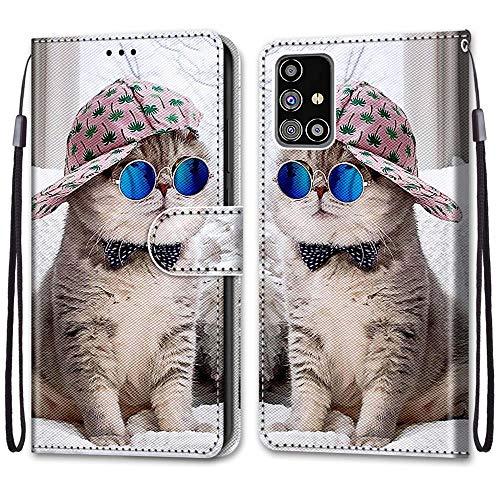 Nadoli Handyhülle Leder für Samsung Galaxy M31S,Bunt Bemalt Brille Katze Trageschlaufe Kartenfach Magnet Ständer Schutzhülle Brieftasche Ledertasche Tasche Etui