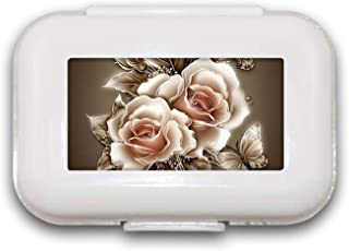 Sunok Retro Rose Flowe Pill Box Pill Case Pill Organizer Decoratieve Boxen Pill Box voor Pocket of Purse - 8 Compartiment ...