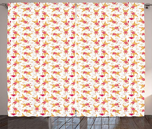 ABAKUHAUS konijn Gordijnen, Meisje met handtas Umbrella, Woonkamer Slaapkamer Raamgordijnen 2-delige set, 280 x 260 cm, Mosterd Donker Zalm