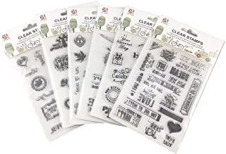 Honbay 6 Sheets Different Theme Friendly Phrases Clear Stamps for Card Making Decoration and Scrapbooking
