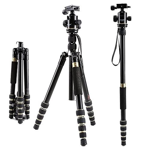 USCAMEL Tripod for Camera DSLR, Professional Portable Folding Aluminum Magnesium with Ball Head Set with 33 Pound/15KG Load, for Smart Phones,Champagne Gold