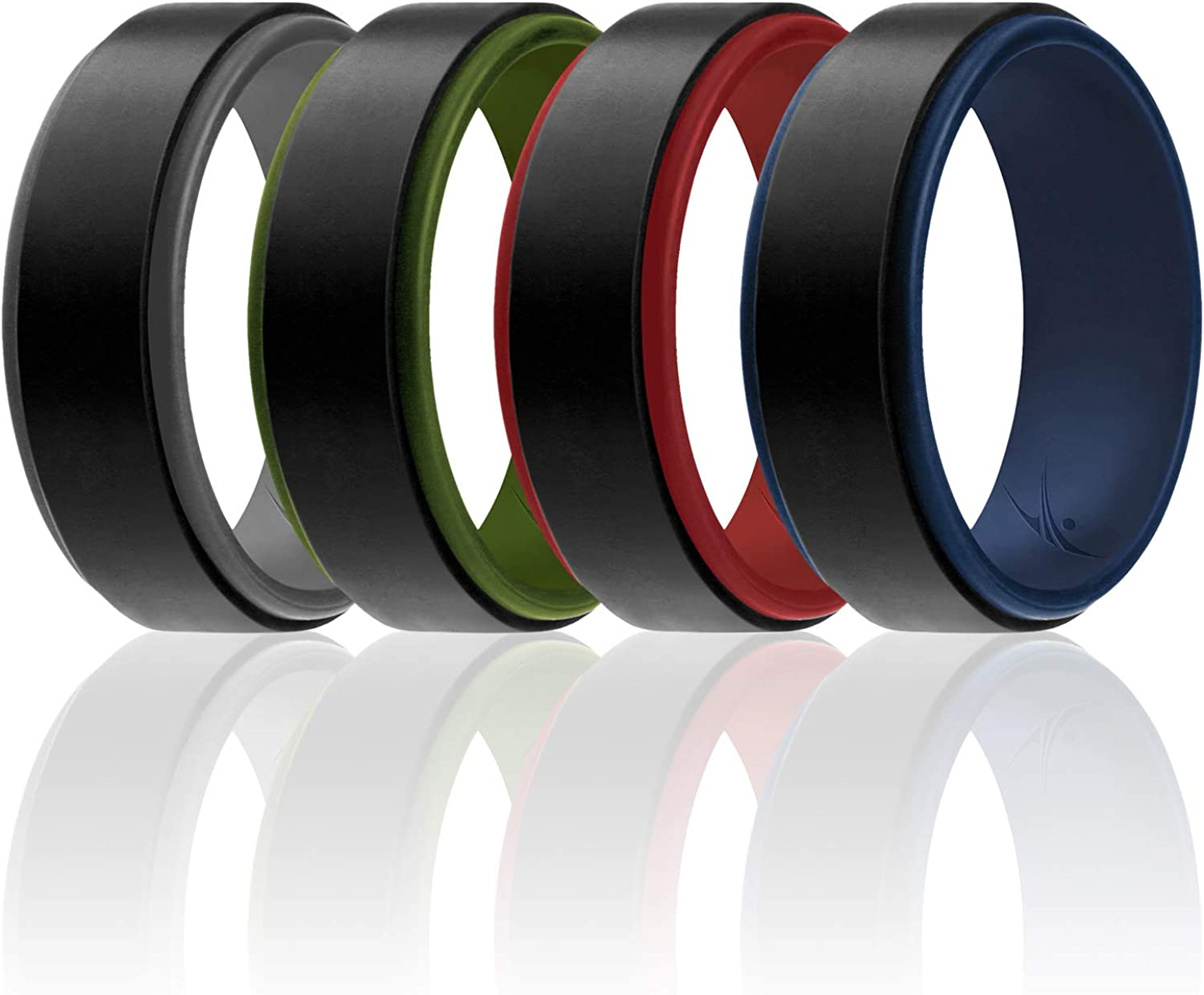 Duo Collection Step Style 6//4//3 Packs /& Single Ring Silicone Rubber Wedding Bands ROQ Silicone Wedding Ring for Men