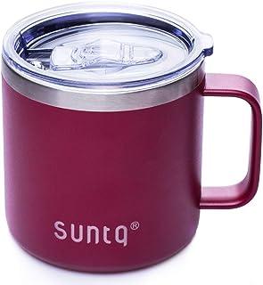 SUNTQステンレスマグカップ 大容量 カフェマグ 仕事用 フタ付き 保冷 耐熱 学生 女性 男性 ローズレッド 420ML