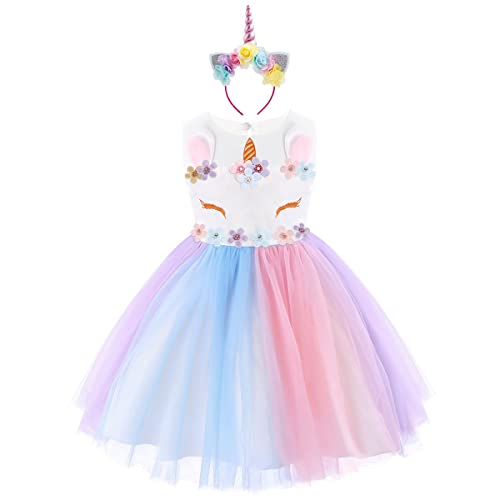 7b6a69833e47 IWEMEK Baby Girls Unicorn Princess Birthday Dress Kids Halloween Cosplay  Ruffled Sleeveless Rainbow Tulle Tutu Dress