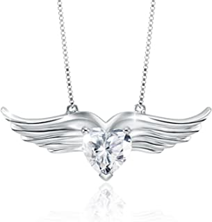 Women Girl Sterling Silver Angel Wing Crystal Pendant Necklace Gift for Daughter Girlfriend, Love Wings