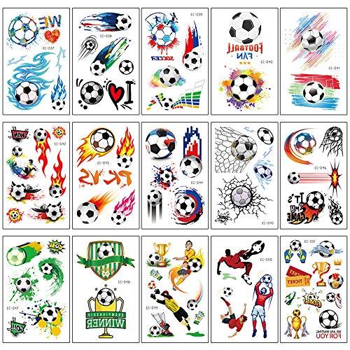 Tatuaggi Temporanei per Bambini 18 Fogli Calcio Adesivi Giocattoli Gadget per Feste di Compleanno per Bambini, Regali Perfetti per Ragazzi