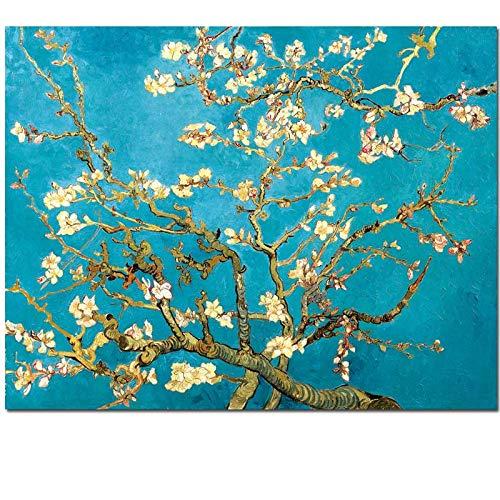 Flduod Beroemde Kunstwerk Bloeiende Amandelboom Waterlelie Vijver Claude Monet Van Gogh Canvas Schilderij Wall Art Voor Woonkamer23.6x29.5inch