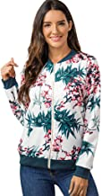 YiYLunneo Womens Coat Ladies Retro Floral Long Sleeve Zipper Up Bomber Jacket Casual Outwear