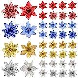 TUPARKA Paquete de 32 Poinsettia de Navidad Brillo Flores Artificiales de Navidad para Adornos de árboles de Navidad, Coronas de Navidad de Navidad Decoraciones de Temporada, 4 Colores