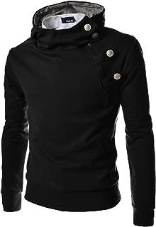 (4BS Mens Buckle Zipper Slim Hoodie Cotton Solid Short Sleeve T-Shirts