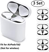 JNSA Dust Guard for AirPods, [Upgrade Thin] Anti-Scratches Dustproof Metal Adhesive Guard Cover Sticker Protector for Airpods1 & AirPods2 (Glossy Black,3 Sets)
