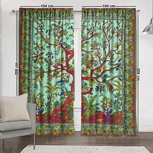 Sophia-Art Window Panel Balcony Tree of Life Set Room Decor Curtain Drape & Tapestry Curtains Valance Dorm Boho Hippie Indian Curtain Set (Green)