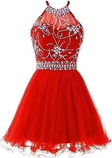 Women's Halter Short Homecoming Dress Beading Tulle Prom Dress
