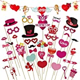 Valentine's Day Photo Booth Props 41 PCS DIY Funny Disguise Props Valentines Day Decorations with Angel Love Bear Banner- Valentines Photography Props Wedding Photo Props