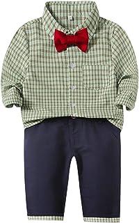 Xifamniy Newborn Boy 2pcs Long Sleeve Sets Plaid Bow Tie Shirt Matching Solid Color Pants