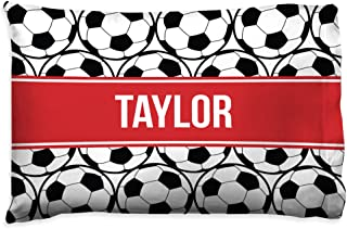 Personalized Soccer Ball Pillowcase | Soccer Pillows by ChalkTalk Sports | Red