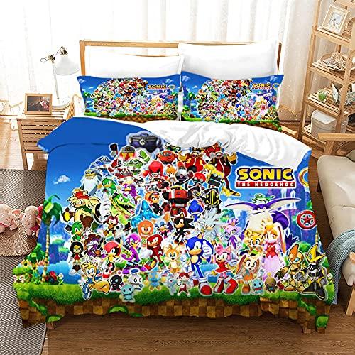 ZPYHJS Sonic 3D Animación para niños Cubierta de edredón Conjunto de Ropa de Cama Niño y niña Dormitorio de una Sola Cama Doble Cama Suave y cómoda Colcha Cubierta de la Colcha-F_230x260cm (3pcs)