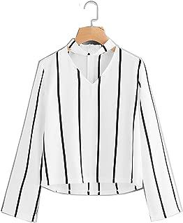 Verochic Long Sleeve segmentation V Neck Hanging neck Striped Shirt