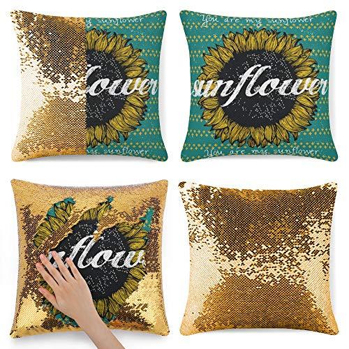 pealrich Fundas de almohada cuadradas para sofá cama, color amarillo dorado y franela, fundas de cojín decorativas, 40,6 x 40,6 cm