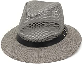 Hats Hollow Mesh Breathable Panama Beach Jazz Hat for Men and Women Straw Cap Fashion (Color : Gray, Size : M)