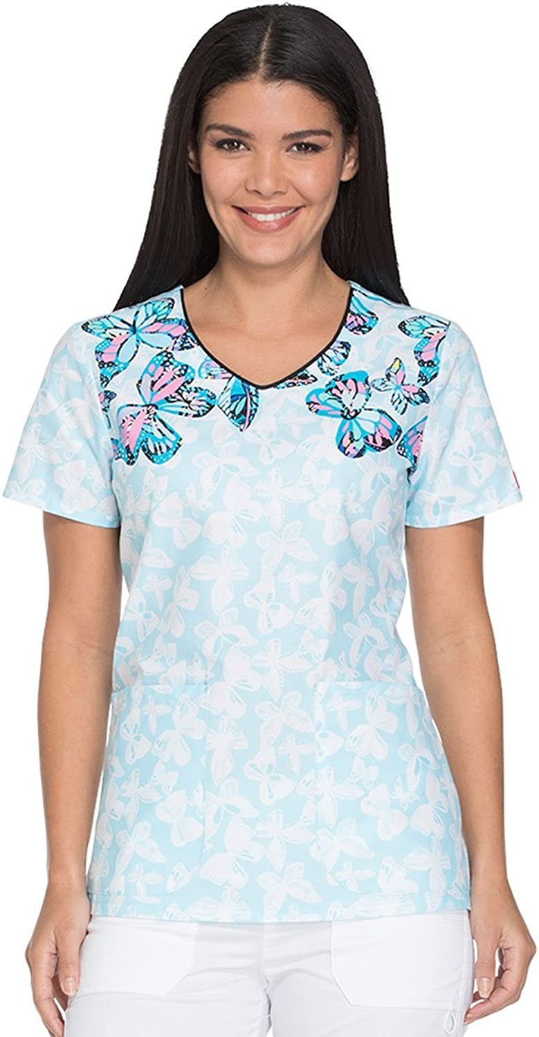 Dickies VNeck Print Scrub Top