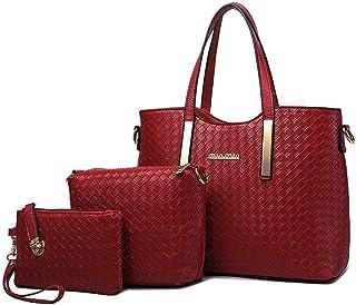 Tibes fashion Handbag Women PU Leather Purse 3pcs Set Woven Bag Luxury Shoulder  Bag Girls Bag f5b47ced4be04