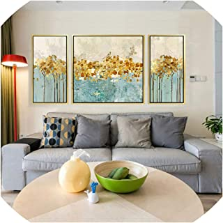 Canvas Painting Cuadros Decoracion 3 Pieces Gold Acrylic Painting Wall Art Pictures for Living Room Home Decor Modern Abstract,2X30X60And60X60 Inch,Canvas Only