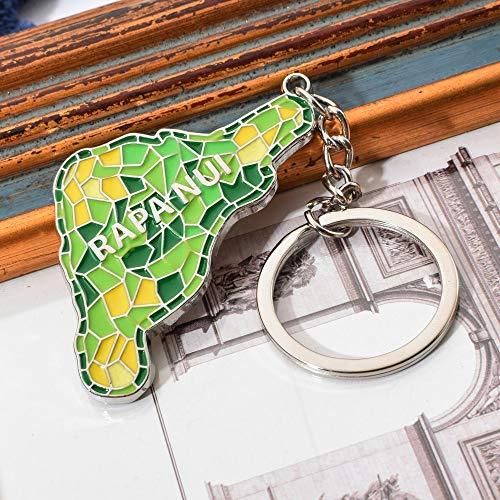 MINTUAN Portachiavi Key Chain Moda Cile Isola di Pasqua Mappa Portachiavi Simpatico Portachiavi Rapa NUI Cile Viaggio Souvenir Portachiavi Colorati Regalo per Un Amico