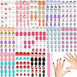 312 Pieces Children Nails Kids False Nails Press on Pre-glue Fake Nails Full Cover Short Artificial False Nails with Nail File and Nail Cuticle Stick for Kids Girls Nail Art