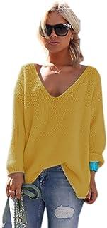 36d1dbf8feee Mikos Mujeres de Manga Larga de Punto Jersey Suéter Suelto Cuello en V  Jumper Tops de