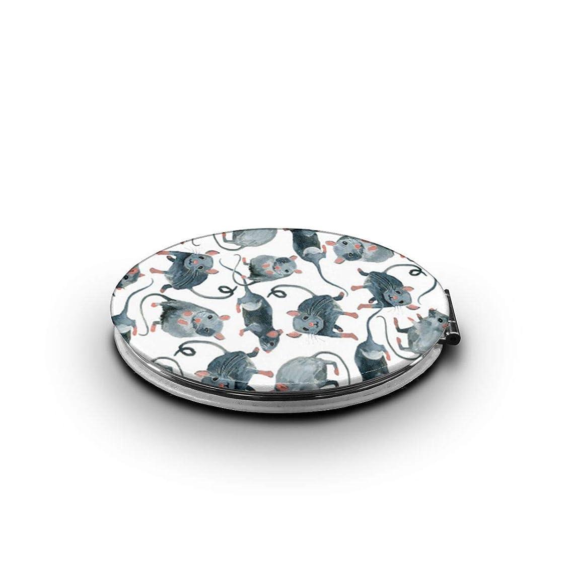 サラダ迷信図携帯ミラー ネズミミニ化粧鏡 化粧鏡 3倍拡大鏡+等倍鏡 両面化粧鏡 楕円形 携帯型 折り畳み式 コンパクト鏡 外出に 持ち運び便利 超軽量 おしゃれ 9.0X6.6CM
