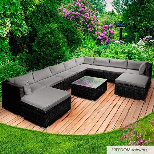 BRAST Poly-Rattan Gartenmöbel Lounge Set 14 Modelle 3 Farben 4-12 Personen Sitzgruppe Freedom Schwarz