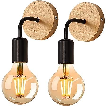 Applique Murale Rétro 2 Pack, Lampe Murale en bois, Éclairage Mural Métal Vintages, pour salon, chambre à coucher, décoration industrielle