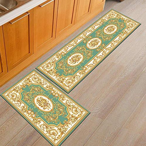 Nfudishpu Küchenteppiche, Einzigartiger moderner Fußmattenläufer im persischen Stil (Q5, 40x60cm + 40x120cm)