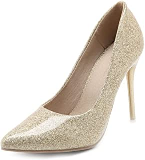 Smilice Stiletto Court Shoes with Pointed Toe Shiny Dressy Court Shoes