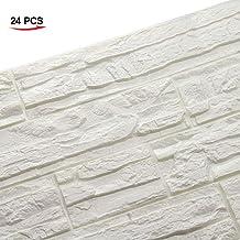WANWEITONG 3D Papel Pintado ladrillo, PE de Espuma de 3D Wallpaper, DIY Pared Pegatinas Decoración de Pared en Relieve Piedra de ladrillo Para Casa Sala de Estar TV Fondo Pared (24 Pcs, Blanco)